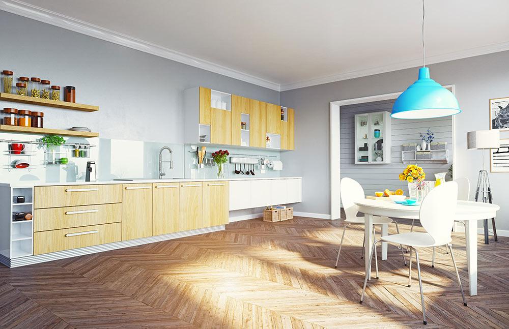 soggiorno con cucina lineare