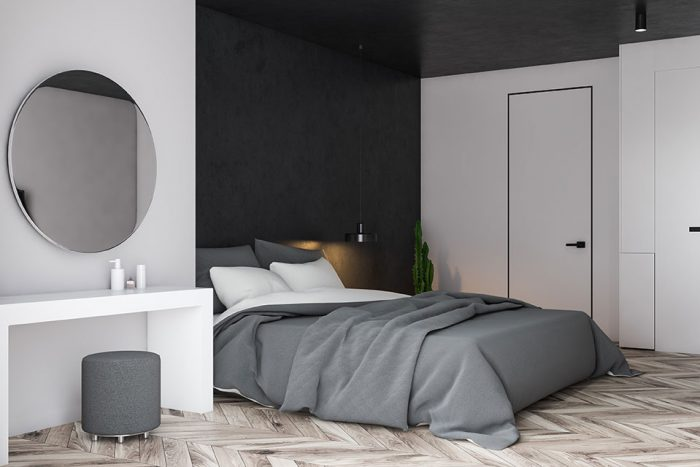 Camera da letto contemporanea - Muro grigio Accent Wall