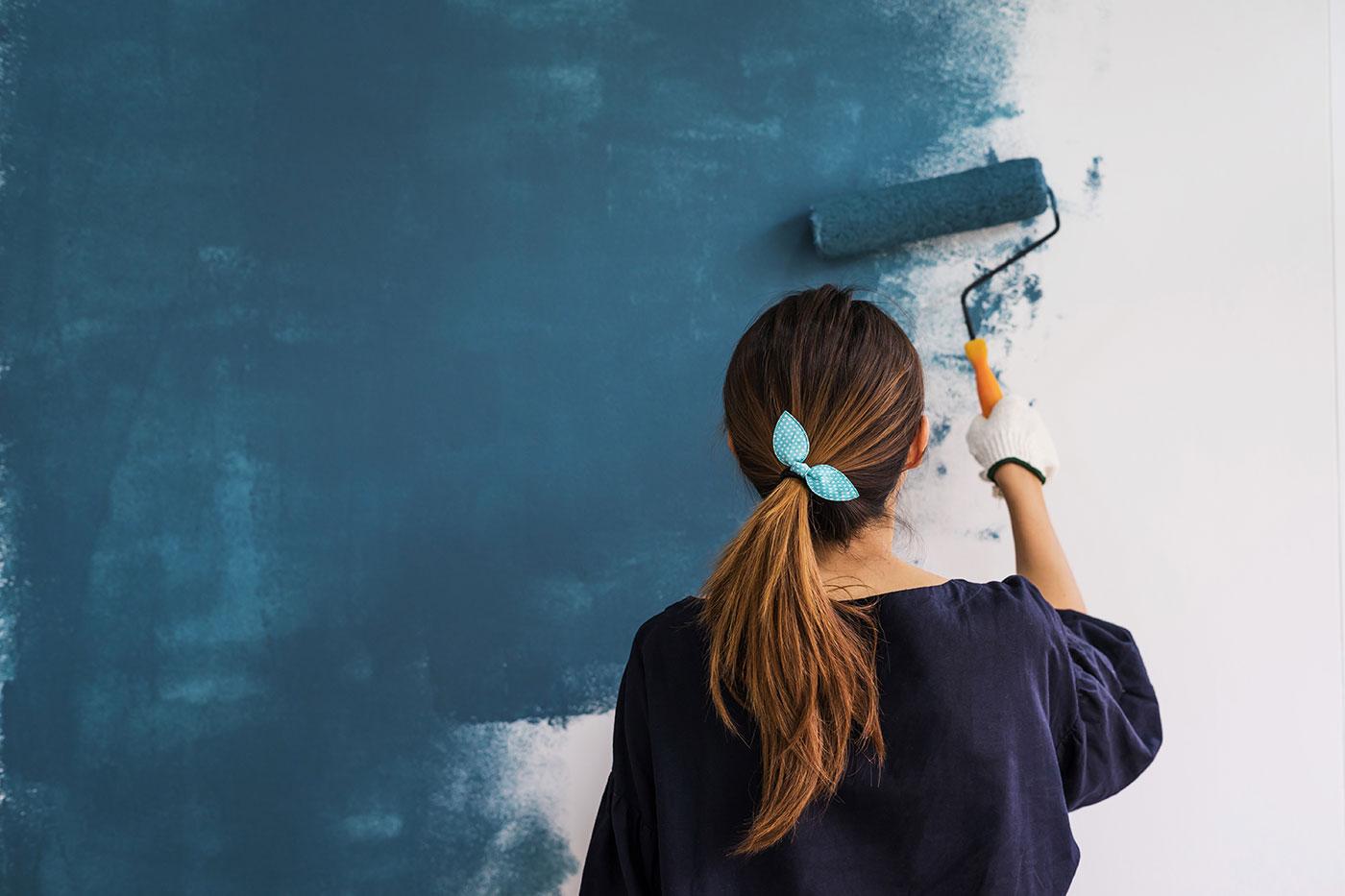 rinnovare casa - parete blu