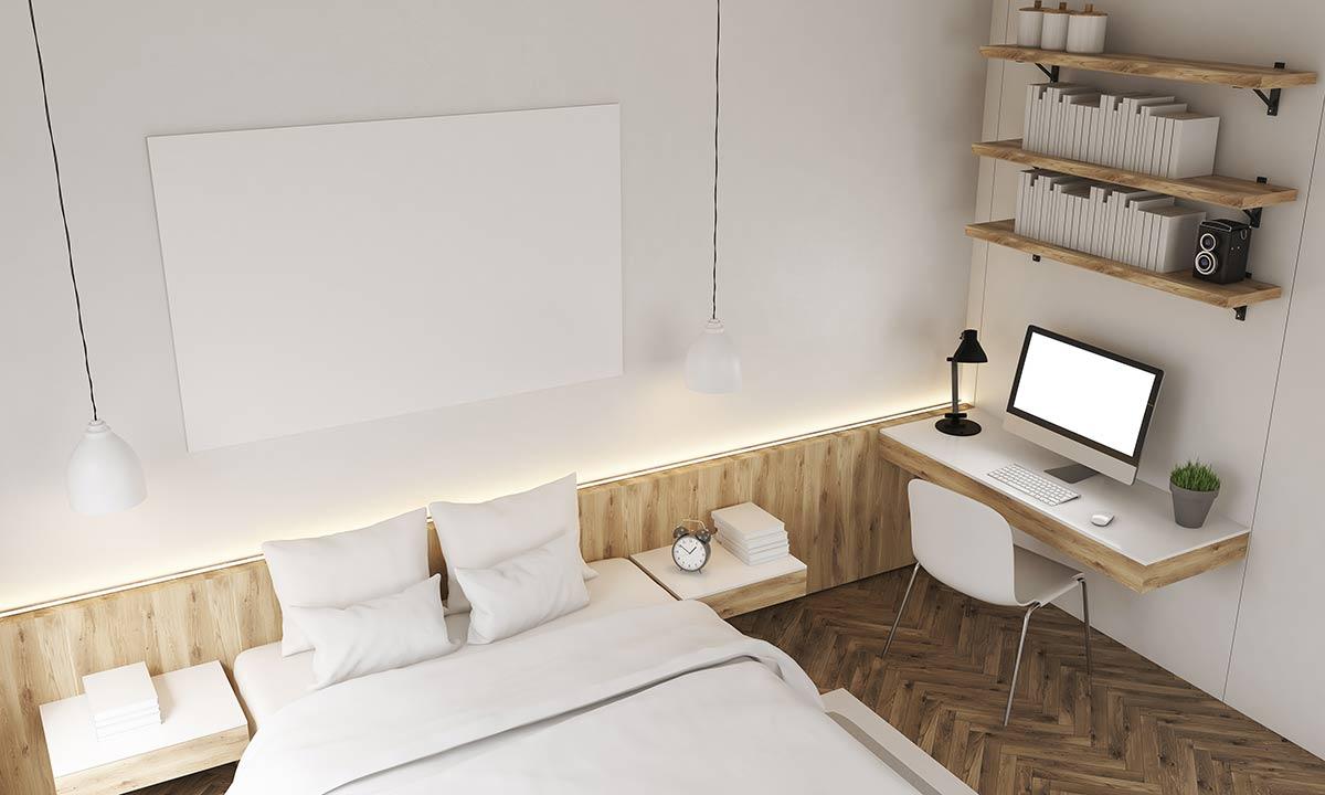 camera da letto con mensole